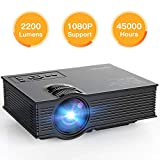 APEMAN Projector Mini Portable Projector Upgraded 2200 Lumens LED Full HD Video Home Theater Supports 1080p HDMI/VGA/USB/SD Card/AV Input PS4 Video Gaming Chromecast for Family Entertainment