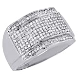 10K White Gold Diamond Pave Mens Pinky Ring Domed Round Cut 0.51 Cttw
