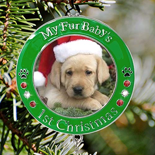 BANBERRY-DESIGNS-Pets-First-Christmas-2020-Photo-Ornament-with-2020-Charm-and-Engraved-My-Fur-Babys-1st-Christmas-Great-for-a-New-Puppy-or-a-New-Kitten