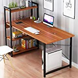 Kawachi Computer Desk Writing Study Table with 4 Tier Bookshelves for Home, Office, Multipurpose Compact PC Workstation Brown KW25