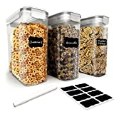 Cereal Container Set by Simple Gourmet. 3 Piece Cereal Storage Containers with Airtight, 4 Side-Locking Lid. BPA Free Plastic Perfect for Food Storage or as a Cereal Dispenser