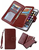 Prime Sale Day Deals Week 2018-For iPhone SE 5/5s Wallet Case,Valentoria Leather Wallet Case Magnetic Detachable Slim Back Cover Card Holder Slot Wrist Strap(iPhone 5/5s, Brown)