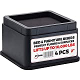 iPrimio Bed and Furniture Risers - 4 Pack Square Elevator up to 2' Per Riser and Lifts up to 10,000 LBs - Protect Floors and Surfaces - Durable ABS Plastic and Anti Slip Foam Grip - Stackable - Black