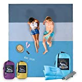 Sand Proof Beach Blanket - Extra Large 8x9', No Sand, Wind Resistant, Quick Drying, Compact Beach Mat, Sand Free Beach Sheet For Hiking, Camping, Festivals By Rising Turtle