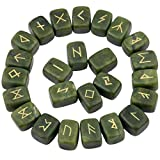 rockcloud Green Jade Rune Stones Tumbled Engraved Lettering Crystal Set for Wicca Crystals Healing Chakra Reiki