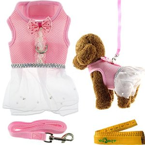Cute Elegant Pink Mesh Dog Cat Pet Vest Harness with Bow tie Lace and White Short Skirt Dress Artificial Pearls and Matching Leash Set for Dogs Cats Pets