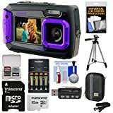Coleman Duo 2V9WP Dual Screen Shock & Waterproof Digital Camera (Purple) with 32GB Card + Batteries & Charger + Case + Tripod + Kit