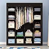 AOOU Closet Organizer Wardrobe Closet Portable Closet, Closet Organizers and Storage with Non-Woven Fabric, Easy to Assemble, 56 x 18.5 x 66 inches, Black