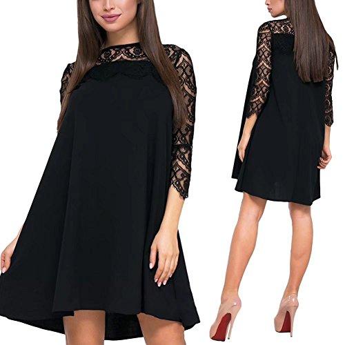 PeeNoke Women Plus Size Swing Dress Casual 3/4 Sleeve Lace Patchwork ...