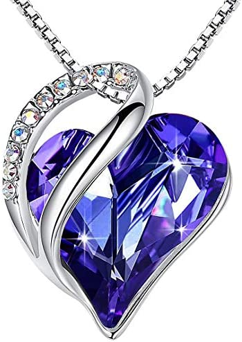 Leafael Infinity Love Heart Pendant Necklace Birthstone Crystal Jewelry Gifts for Women, Silver-tone, 18″+2″