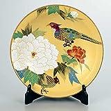 "Japanese drawn Ceramic Porcelain kutani ware with wooden box. Plateau. Big plate. Peony and pheasants."" Japanese ceramic Hagiyakiya 1204"