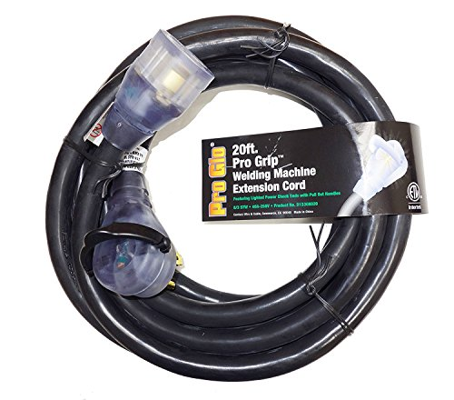 Pro Grip 8 Gauge STW 20 Foot Welding Extension Cord 40A-250V With Lighted Ends - Black