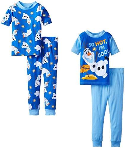Disney Little Boys' Frozen Olaf So Hot I'm Cool 4 Piece Pajama Set, Multi
