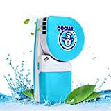 LUCKSTAR Handheld Cooler Fan - Small Fan Mini-Air Conditioner Speed Adjustable Summer Cooler Fan With Water Bottle Powered by Batteries or USB Cable for Home / Office / Travel / Outdoor (Blue)