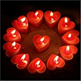 Celestte (TM) Scented Candles, 12 Pcs Sweet Romantic Love Heart Shaped Floating Candle for Home Decorations Wedding Birthday Party Celebrations (Red)