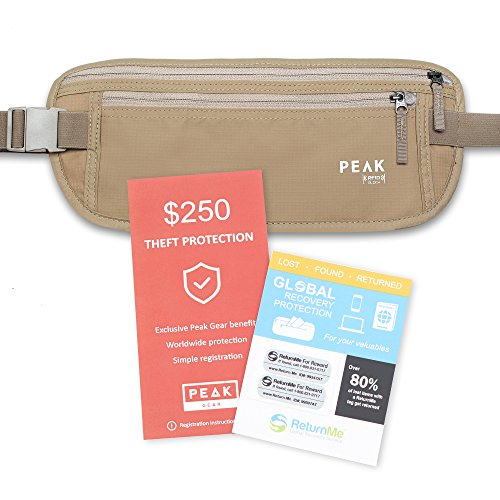 Travel Money Belt with built-in RFID Block - Includes Theft Protection and...
