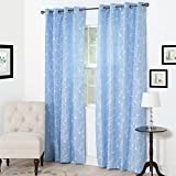 Semi Sheer Grommet Style Curtains - Floral Embroidered Pattern Window Curtain Panel for Living Room Bedroom, 95 x 54 Inch by Lavish Home (Light Blue)