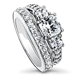 BERRICLE Rhodium Plated Sterling Silver Cushion Cut Cubic Zirconia CZ 3-Stone Anniversary Engagement Wedding Ring Set 2.79 CTW Size 8