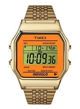 Timex Unisex Digital Watch | Retro Orange Case Gold-Tone Band | TW2P65100