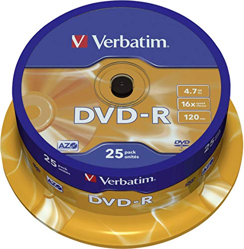 515ztSGppZL - Verbatim DVD-R Discs 25 Spindle Pack, Bulk Pack 25 x DVD-R Blank Discs with AZO Protection Against UV, 16x Speed, 4.7 GB