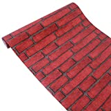 Yifely Red Brick Self Adhesive Shelf Drawer Liner Door Sticker Rural Contact Paper 17.7inch by 9.8 Feet