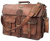 DHK 18 Inch Vintage Handmade Leather Messenger Bag for Laptop Briefcase Best Computer Satchel School Distressed Bag (14 inch)