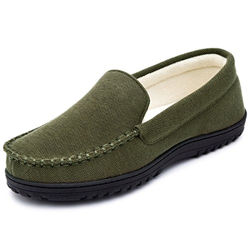 Cozy Niche Men's Moccasin Slippers, Anti-Slip House Shoes, Indoor Outdoor Rubber Sole Loafers (11 D(M) US, Army Green)