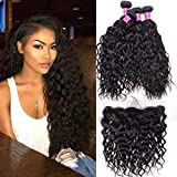 RECOOL Brazilian Hair Water Wave Bundles with Closure Ear to Ear 10A Virgin Hair Wet and Wavy Human Hair Bundles and Lace Frontal Closure for Sale Natural Color Real Good Quality Hair (18 20 22+16)