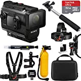 Sony HDRAS50R/B Full HD Action Cam + Live View Remote Bundle + 32GB Outdoor Adventure Mounting Bundle