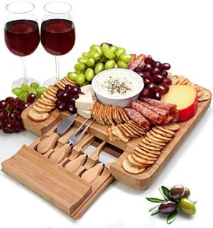 Bamboo Charcuterie Cheese Board and Knife Set, Serving Platter Tray with Cutlery Set, Housewarming Gifts, Entertaining Serving Dishes, Cheese Serving Plate, Large Cheese Charcuterie Board