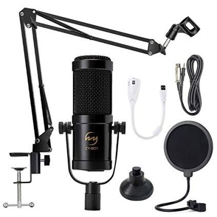 ZINGYOU-Desktop-Condenser-Mic-Set-ZY-901-Professional-Studio-Microphone-for-Recording-Cardioid-Condenser-PC-Mic-Comes-with-Miniature-Stand-and-Adjustable-Mic-Stand