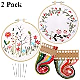 2 Pack Embroidery Kit with Pattern, Full Range of Stamped Embroidery Beginner Kit Including Patterned Embroidery Cloth Hoop Colored Threads and Needles Hand Sewing Craft