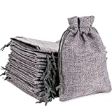 50pcs Burlap Bags with Drawstring, Jute Gift Bag Jewelry Pouches Small Linen Sacks Candy Bag for Wedding Party Birthday Baby Shower Christmas DIY Craft Art Project Snack Favors, 5.3 X 3.8 Inch Grey