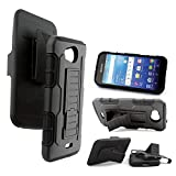 Kyocera Hydro Wave Case, Customerfirst Black Rugged Impact Armor Hybrid Kickstand Cover with Belt Clip Holster Case For Kyocera Wave C6740 (Robot Black)