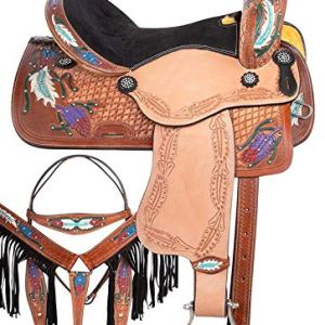Wonder Wish Hand Carved Antique Oil Premium Leather Pleasure Trail Comfy SEAT Horse TACK Package
