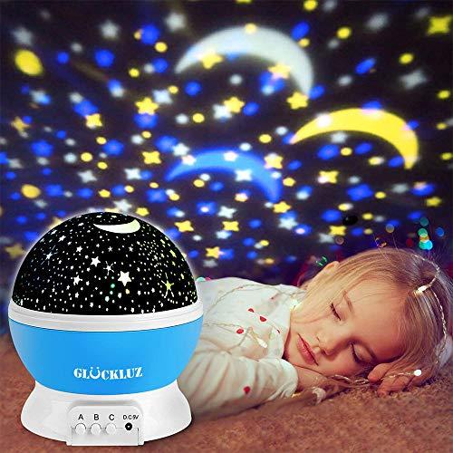 Regalo de Navidad Glückluz Iluminación Infantil Proyector Lampara de Estrellas de 360 Grados...
