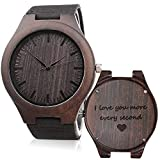 KOSTING Wood Watches for Men Black Leather Strap Wristwatches Genuine Leather Band with Gift Box - I Love You More Every Second - Personalized Gifts for Men Husband Gift Anniversary Gift