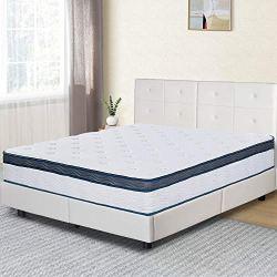 Olee Sleep 12 Inch Euro Top Gel Memory Foam Spring Hybrid Mattress Full, Mid Night, Mattress In a Box, CertiPUR-US…