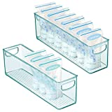 mDesign Storage Organizer Container Bin for Kids/Child Supplies in Kitchen, Pantry, Nursery, Bedroom, Playroom - Holds Breast Milk Pouches, Formula, Bottles, Baby Food - 16' Long, 2 Pack - Sea Blue