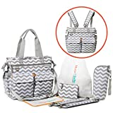 Diaper Bag Backpack 5-in-1 Baby Bags for Mom Set converts to Nappy Tote Diaper Bag, Crossbody Messenger Bag or Travel Backpack Diaper Bag for Women with Changing Pad Plus 4 Items& 3 Detachable Straps
