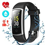 CHEREEKI Fitness Tracker, Heart Rate Monitor Activity Tracker with Blood Pressure Sleep Monitor 14 Sports Tracking, Color Screen IP68 Waterproof, Fitness Watch Step Calorie Counter (Black)