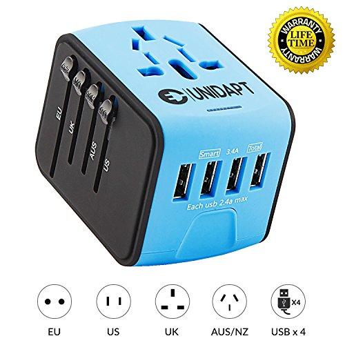 Unidapt Universal Travel Power Adapter, European Adapter, Fast 2,4A 4-USB...