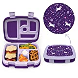 Bentgo Kids Prints (Unicorn) - Leak-Proof, 5-Compartment Bento-Style Kids Lunch Box - Ideal Portion Sizes for Ages 3 to 7 - BPA-Free and Food-Safe Materials