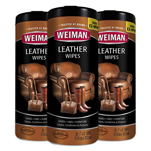 Weiman Leather Wipes - 3 Pack - Clean Condition UV Protection Help Prevent Cracking or Fading of Leather Furniture, Car Seats & Interior, Shoes
