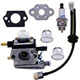 NIMTEK New Carburetor with Gasket Repower Kit Spark Plug for Zama C1U-K54A Echo Mantis Tiller TC-210 TC-210i TC-2100 SV-6 SV-5H/2 SV-5C SV-4B LHD-1700 HC-1500