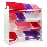 Tot Tutors Kids' Toy Storage Organizer with 12 Plastic Bins, White/Pink & Purple (Friends Collection)