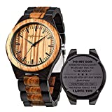 Engraved Wooden Watches, Personalized Engraved Wood Watch Japanese Movement Battery Anniversary Birthday Graduation Gift for Husband Love Dad Mom Son Friend Engraved Watch (for Son)