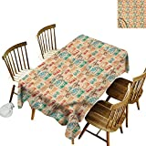 Tim1Beve Water Resistant Table Cloth Vintage Retro Camera Radio High-end Durable Creative Home 60' W x 84' L