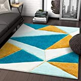 Well Woven Walker Blue Triangle Boxes Thick Soft Plush 3D Textured Shag Area Rug 5x7 (5'3' x 7'3')