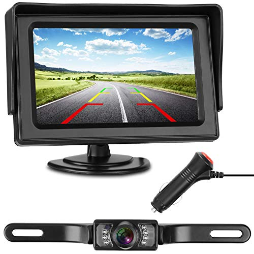 iStrong Backup Camera and Monitor Kit Wire Single Power Supply For Whole System  Rear View/Constantly View License Plate Reverse Camera For Car/SUV/Vehicle/Pickup Waterproof Night Vision Guide Lines